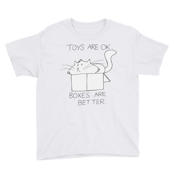 "CHUM THE CAT ""BOXES ARE BETTER"" Hand drawn design. Youth Short Sleeve T-Shirt"
