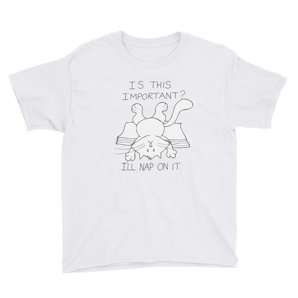 "CHUM THE CAT ""I'LL NAP ON IT"" Hand drawn design. Youth Short Sleeve T-Shirt"