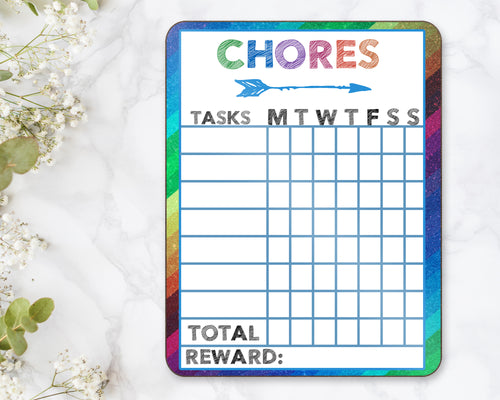 Chore Chart Dry Erase Board Children Kids Summer Weekly Allowance Responsibility Kid's Chore Contribution Screen Time Ipad Electronics Games - Incandescently