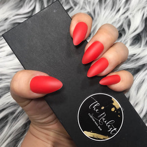INSTANT GLAM- SOLID MATTE TOMATO RED STILETTO SET