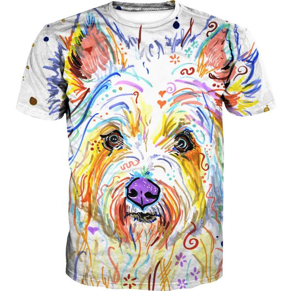 Colorful Dog T-Shirt - Dog Printed Clothing