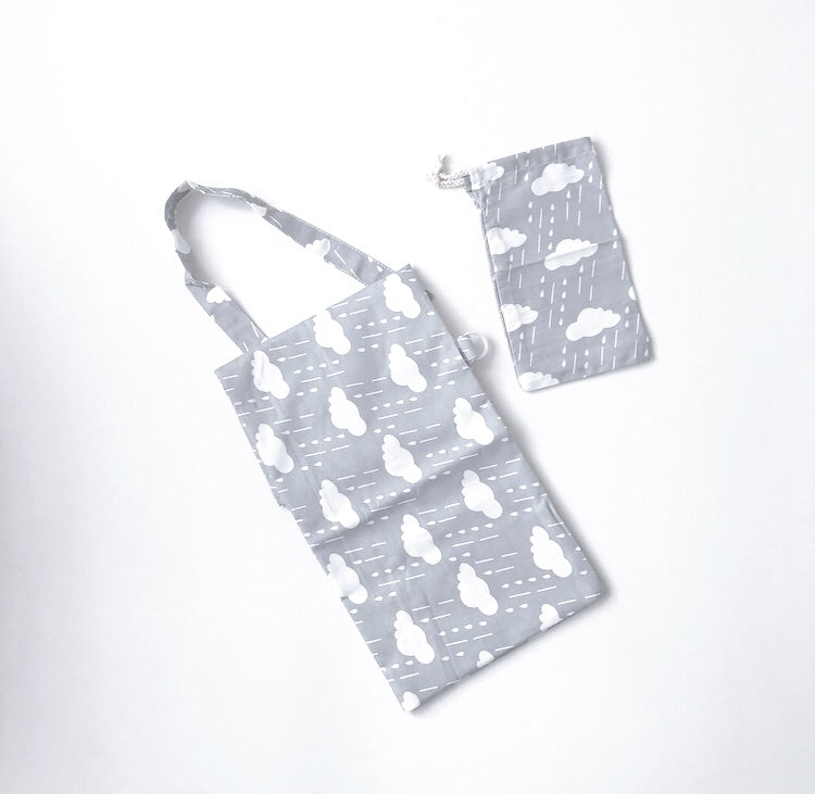 Cotton clouds breastfeeding apron and bag