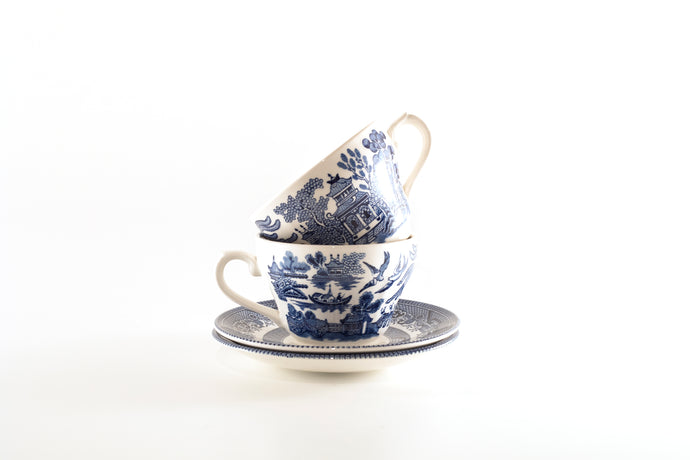 willow white vintage two theme temple teacup tea set tea party tea special sister set pack oriental mother homeware gift fancy decorative decor cups churchill ceremony blue beautiful asian