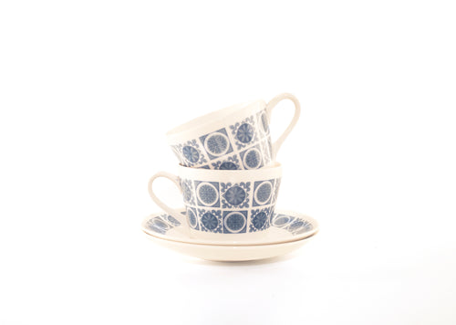 vintage unique teacups special saucers retro reality present practical kitchen homeware gift idea gift geometric flower floral fancy english breakfast english dinner decor classic breakfast blue