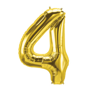 34in Number 4 Gold Balloon