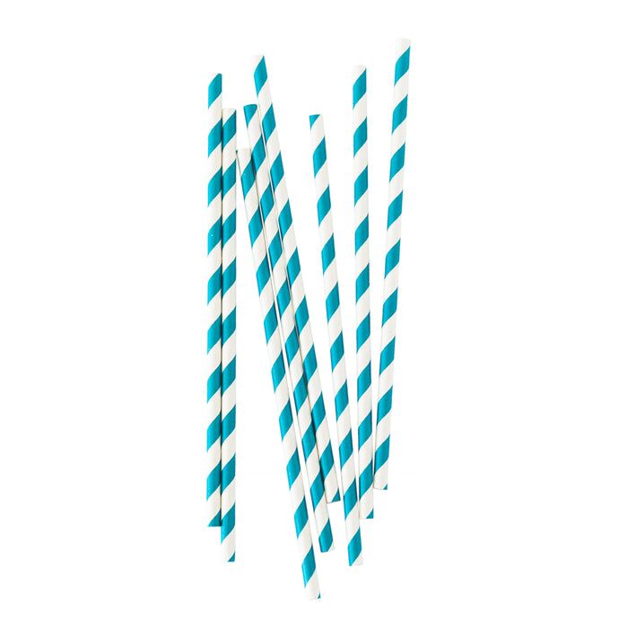 Turquoise Stripe Paper Straws - 25 Pack