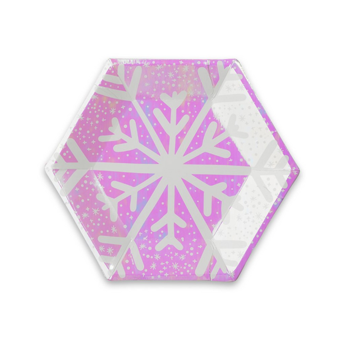 Frosted Snowflake Small Paper Plates - 8 Pack