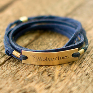 Michigan Wolverines Navy Blue Wrap Bracelet