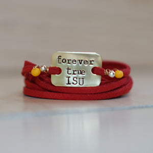 Forever True ISU - Red Leather Wrap Bracelet