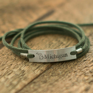 Michigan Green Wrap Bracelet