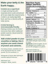 Load image into Gallery viewer, Bite Snacks Nutritional Information Panel Cricket Protein Powder Pure Cricket Smoothie Mix