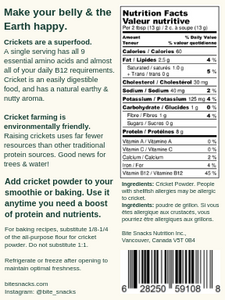 Bite Snacks Nutritional Information Panel Cricket Protein Powder Pure Cricket Smoothie Mix