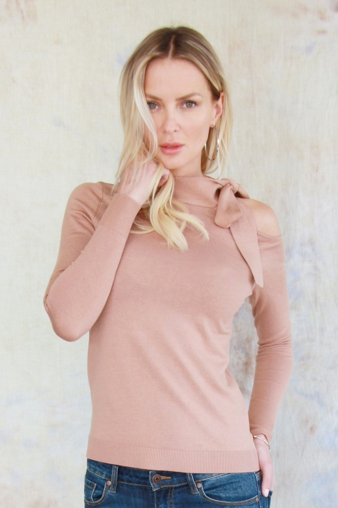 Open Shoulder Tie Sweater