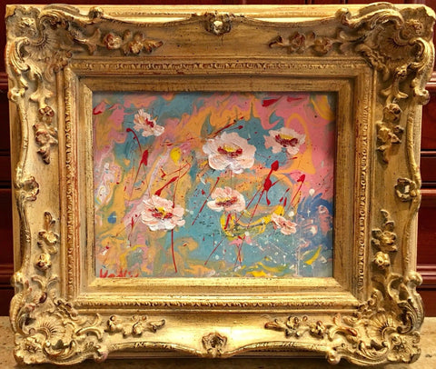 "KADLIC Abstract Marble Blossoms Pink Yellow Original Painting Gold 15"" Frame"