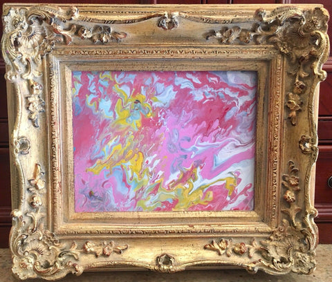 "KADLIC Abstract Marble Pink Yellow Original Painting Gold 15"" Frame"