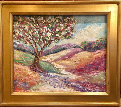KADLIC Abstract Impasto Landscape Original Oil Painting Art Gold Frame 24""