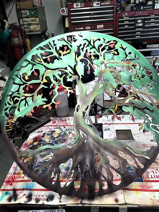 Airbrushed 24 Inch Tree Of Life Metal Wall Art Customized