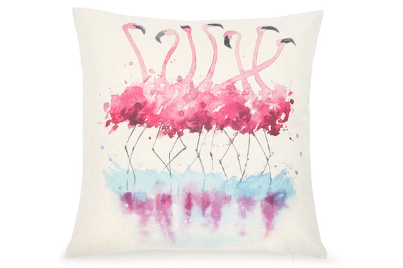 Pal Fabric Blended Linen Animals Square 18x18 Watercolor Flamingo Pillow Cover