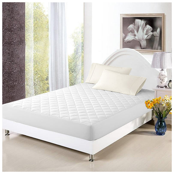 Pal Fabric 100%Cotton  Quited Ultra Thickness Mattress Protector-Vinyl Free-Stretch fitted Skirt-QUEEN SIZE