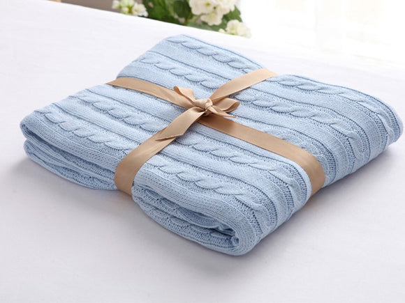 Pal Fabric kniited 100% Cotton Blanket Blue