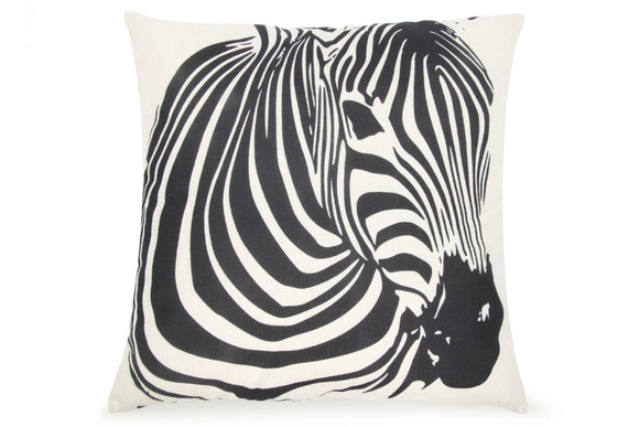 Pal Fabric Blended Linen Animals Square 18x18 Zebra Pillow Cover