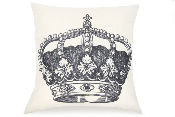 Pal Fabric Blended Linen Square 18x18 Pillow Cover Royal Crown King Queen Princess Prince