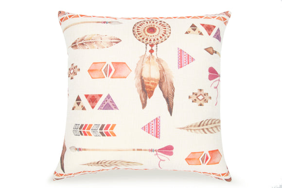 Pal Fabric Blended Linen Square 18x18 Indian Western Feather Pillow Cover