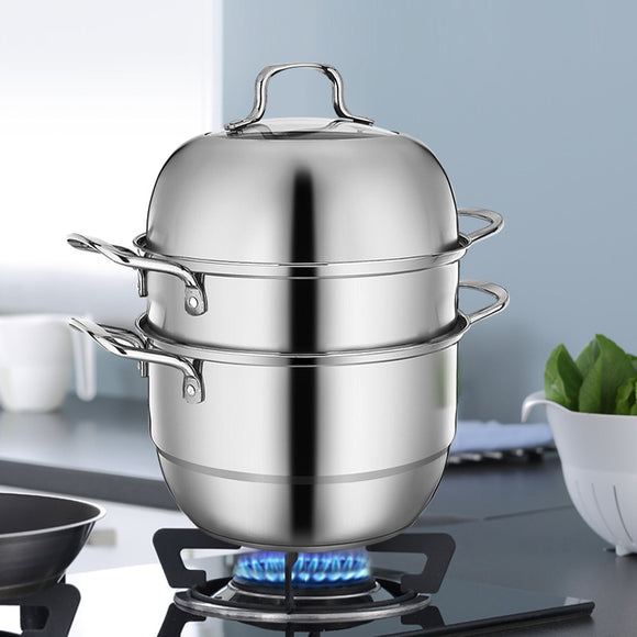 Stainless Steel 3-Tier/Layer Steamer cooking pot, Rice cooker, Double Boilder, stack, steam soup pot and steamer. Visible cover , work with Gas, Electric, Induction and Grill stove top (Jumbo 30cm)