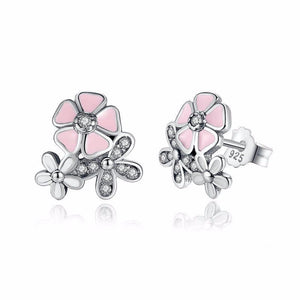 Ronux jewel white Daisy flower and pink Cherry Blossom Sterling Silver Stud Earrings with cubic zirconia