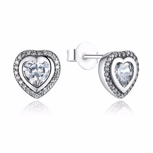 Ronux jewel sterling silver love heart shaped stud earrings with cubic zirconia for women
