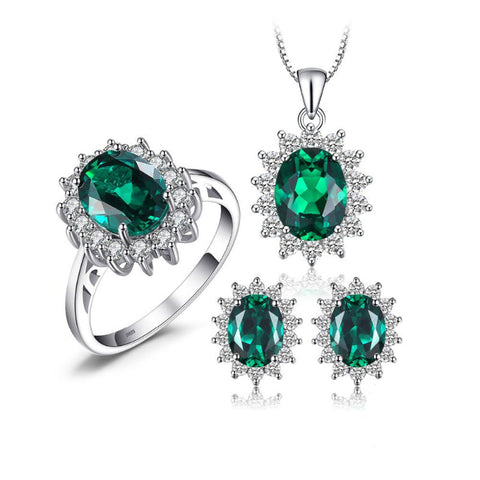 Ronux Jewel bridal gemstone jewellery gift set, sterling silver luxurious oval shape green Emerald 3 piece Jewellery Set including pendant necklace, ring, stud earrings