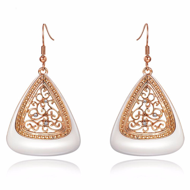 Ronux Jewel fashionable rose gold drop earrings with rhinestone and cream enamel crafts pendant for women