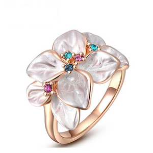 Ronux Jewel affordable trendy women rose gold flower leaves ring with colourful crystals and rhinestone