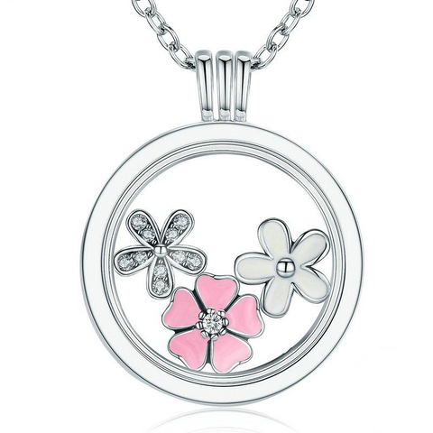 Ronux Jewel women 925 sterling silver charm long necklace, pink and white Cherry Blossom and daisy flower Pendant Necklace