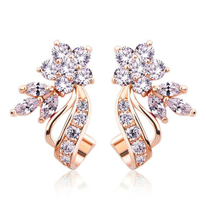 Ronux Jewel floral flower shape rose gold stud earrings with sparkling clear cubic zirconia, fashionable gemstone stud earrings