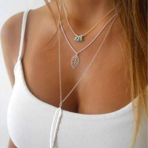 Bohemian Long Chain Feather Multilayer Choker