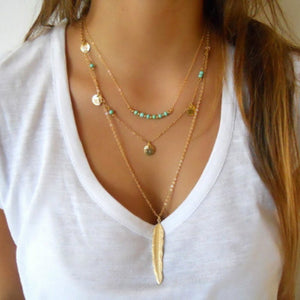 Fashion Feather Multilayer Choker