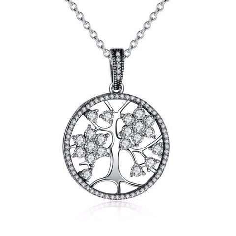 Ronux jewel life tree with cubic zirconia branches in a circle pendant necklace necklace crafted from 925 sterling silver, silver family tree pendant necklace