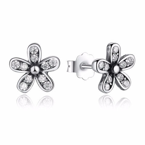 Ronux jewel sparkling sterling silver daisy flower and cubic zirconia stud earrings