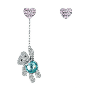 Ronux jewel 925 sterling silver bear and heart shape stud earrings with pink and green cubic zirconia stones