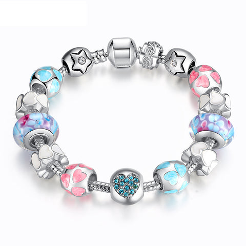 Ronux jewel heart and flower and star bead blue and silver and pink crystal love charm bracelet, friendship bracelet