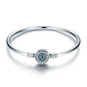 Ronux jewel women 925 sterling silver lucky blue eyes bangle bracelet with cubic zirconia stones, luxury jewellery
