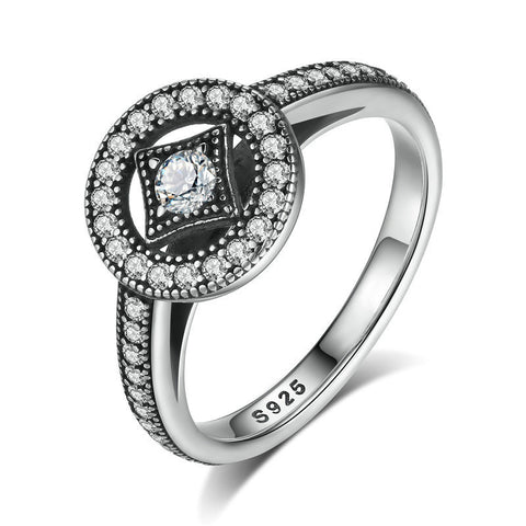 Ronux jewel women 925 sterling silver promise ring with round geometric shape cubic zirconia stones