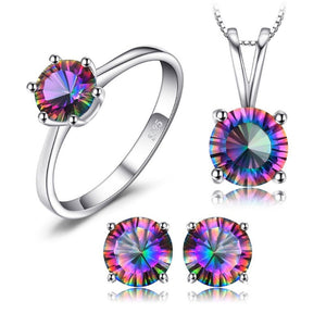Ronux Jewel bridal gemstone jewellery gift set, sterling silver luxurious round shape rainbow mystic topaz 3 piece Jewellery Set including pendant necklace, ring, stud earrings