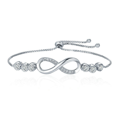 Ronux jewel women silver love infinity sign bracelet with round cubic zirconia stones