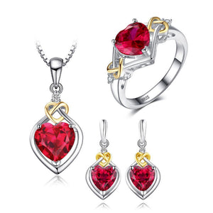 Ronux Jewel bridal gemstone jewellery gift set, sterling silver luxurious heart shape red ruby 3 piece Jewellery Set including pendant necklace, ring, dangle earrings