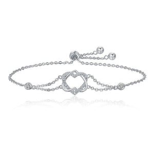 Ronux jewel 925 sterling silver twisted double heart shape bracelet with cubic zirconia stones, friendship love bracelet