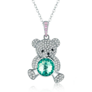 Ronux jewel 925 sterling silver bear shape pendant necklace with pink and green cubic zirconia stones