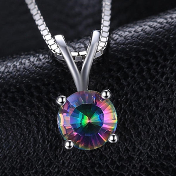 Ronux Jewel bridal gemstone jewellery gift set, sterling silver luxurious round shape rainbow mystic topaz pendant necklace
