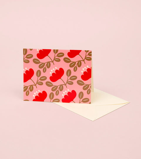 BLOSSOM GOLD GREETING CARD - RED PETAL